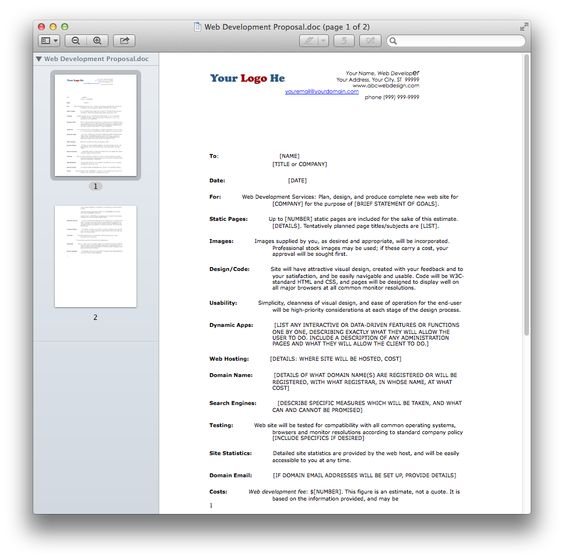 Web Development Proposal.doc.png (967×961)   Working Documents for ...