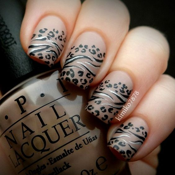 Neutral colour leopard and zebra print tipped nails by kimiko7878 #nailart...x