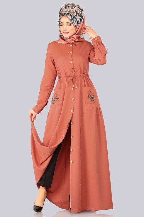 Modaselvim Elbise Cebi Nakisli Elbise Ferace 5081ay342 Koyu Somon With Images Hijab Fashion Fashion Hijabi Fashion