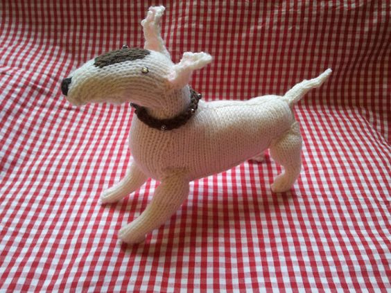 Knitted bull terrier - finally finished!