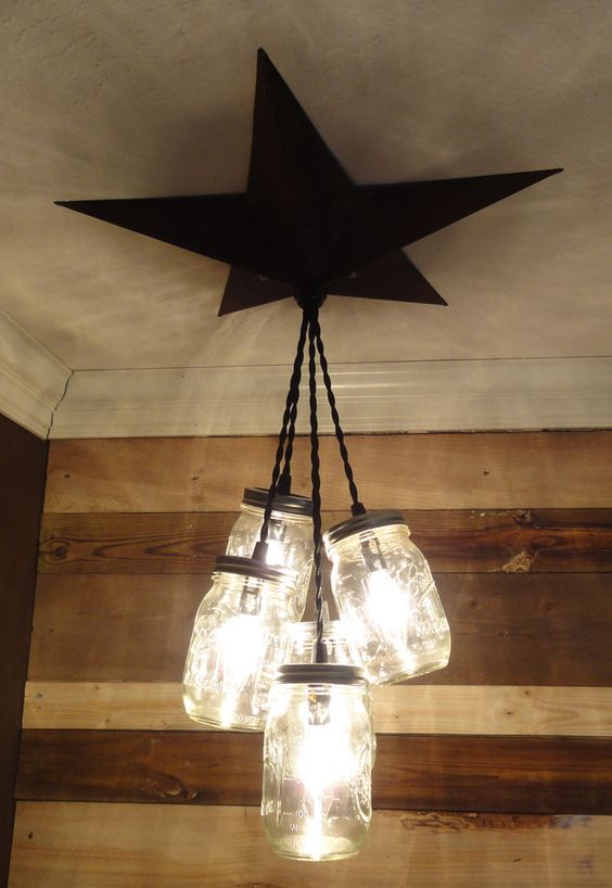 Details About Mason Jar Chandelier Barn Star Country