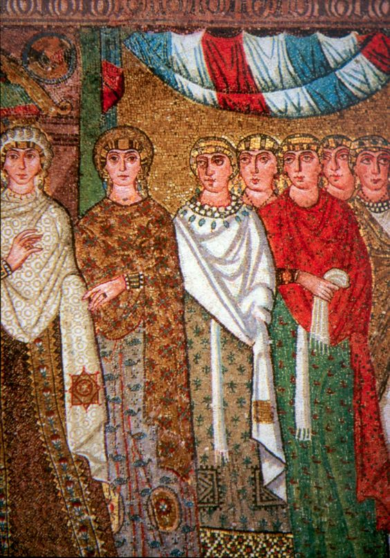 Theodora's retinue of Ladies, one of whom is likely Princess Julia Anicia. Mosaic from the San Vitale church in Ravenna