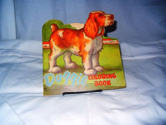 Children's Vintage Coloring Story Book  DOGGIE Saalfied VERY RARE 1950's