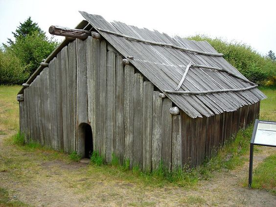 replica Clatsop Indian Longhouse Ft Stevens in Oregon. photo from sashous, via Flickr  Native American plankhouse plank house long house
