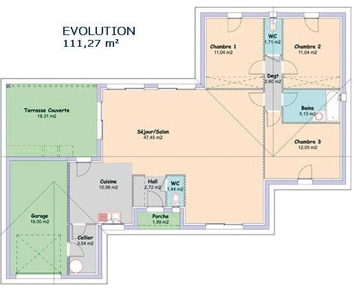 Modèle et plans Mca - evolution du constructeur Maisons MCA plan