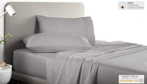 """Cotton 100% Cotton 200 Thread Count Solid Percale Cotton Sheet Set WHAT YOU GET – 200 Thread Count Cotton Queen Sheets Set Comprises: 1 Flat Sheet 90 x 104 inches, 1 Fitted Sheet 60 x 80 inches with 15"""" deep pocket, 2 Pillow Cases 20 x 32 inches Our Fitted Sheets come with high quality expandable elastic that fits perfectly on your mattress. A perfect choice for giving an edge to visual enhancement of your bedroom decor."""