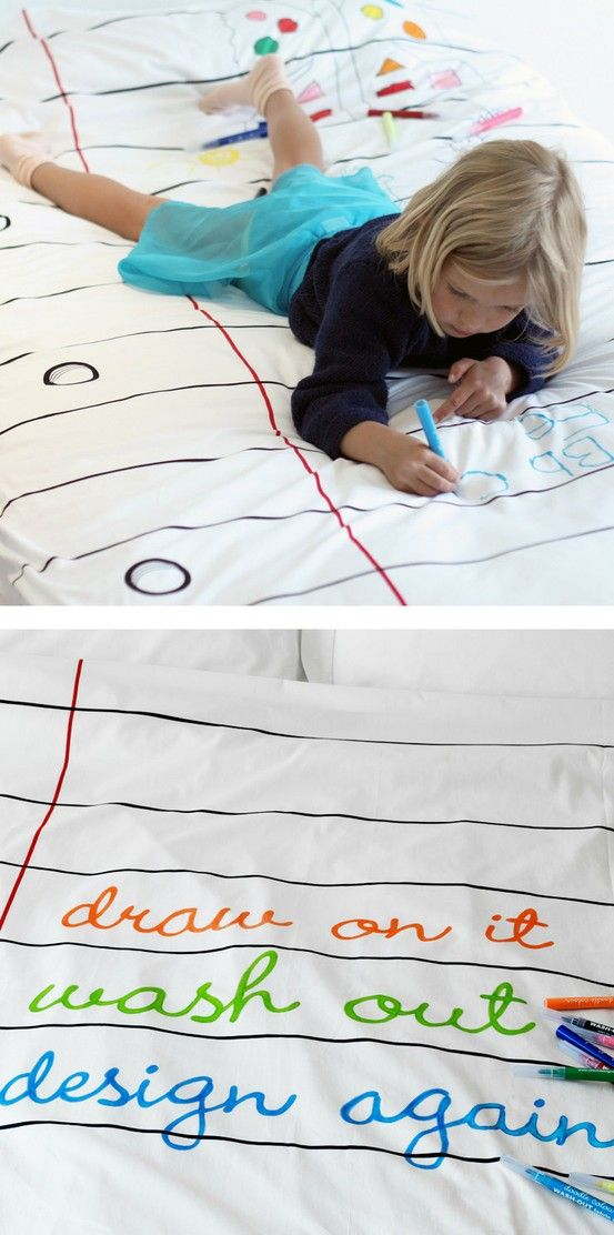 Doodle Duvet - Made from a thick cotton stock that's designed to be written on, comes with washable markers.