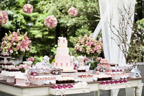 beautiful-love the desk with drawers pulled out..colors...flowers...display: 1St Birthday Parties, Candy Buffet, Birds Theme, Party Ideas For Girls, 1St Birthdays, Birthday Party Ideas, Bird Birthday Parties
