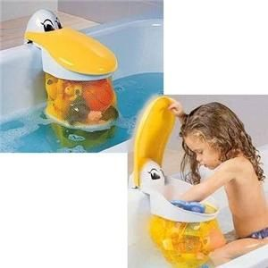 Bath toy storage... I like this better than the frog with suction cups we have cuz it always falls off: