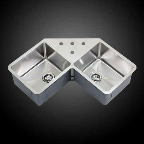 Undermount Corner Kitchen Sink : ... Undermount Stainless Steel Double Bowl Corner Butterfly Kitchen Sink #