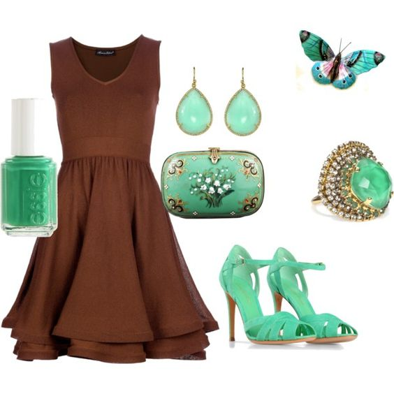 Brown and greenish, love the color combo