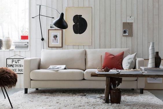 Artist Inspired Living Room Neutral Linen Sofa Moody Shades Soft Textures Pops Of Red Shagged Rug Ikea Karlstad Sofa Baddsoffa Ikeamobler Overdrag