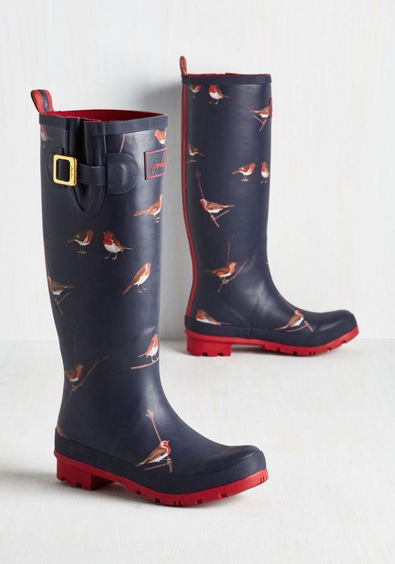 cute robin print rain boots