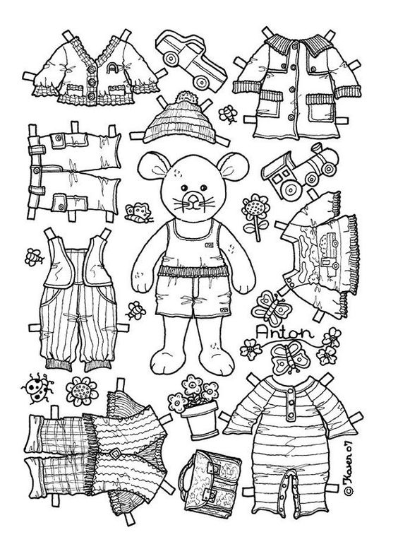 boy bear mouse paper doll coloring page coloring pages pinterest boys coloring and kid. Black Bedroom Furniture Sets. Home Design Ideas