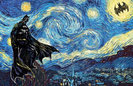 Batman Starry Night Vincent van Gogh Art by DESIGNEDforCHRIST