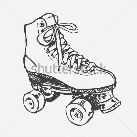 Dibujo Patn Sobre Rued... Roller Derby Skate Drawing