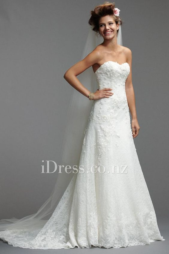 a-line floral alencon lace sweetheart chapel train wedding dress from idress.co.nz