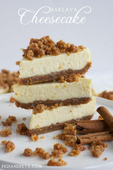 Simple, easy to prepare, delicious, Baklava Cheesecake. Recipe at FigsAndFeta.com