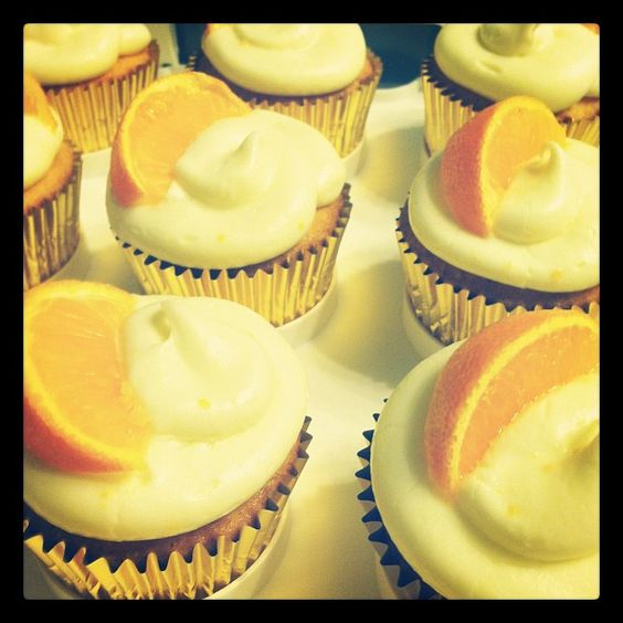 my blue moon cupcakes with orange cream cheese buttercream frosting #orange #cupcakes #bluemoon #cupcake