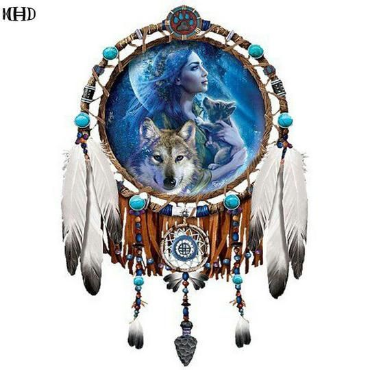 5D Diamond Painting Tribal Wolf Dream Catcher Kit