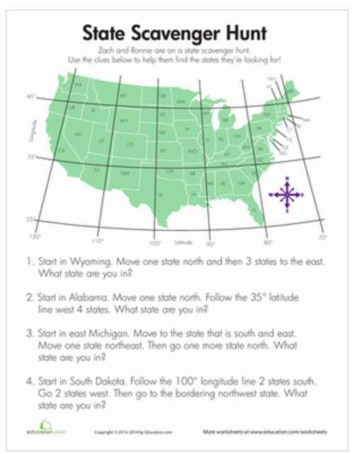 State Scavenger Hunt Social Studies Worksheets Social Studies 3rd Grade Social Studies 4th grade geography worksheets