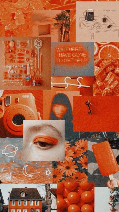 15 Trendy Orange Aesthetic Wallpaper Collage Di 2020 Warna Koral