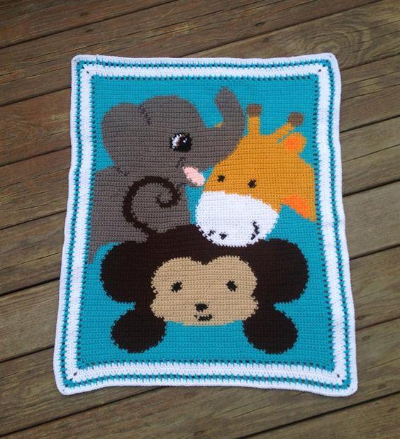 Zoo Animal Baby Blanket Safari Graphghan by ...