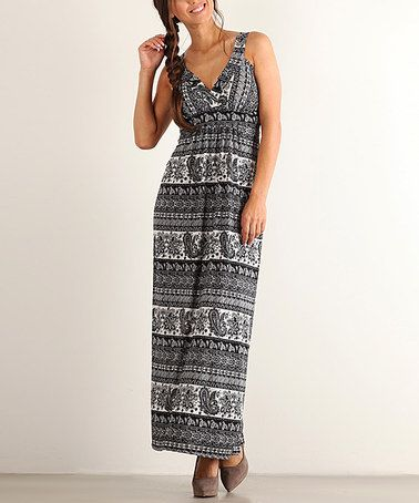 Another great find on #zulily! Black & White Paisley Surplice Maxi Dress #zulilyfinds