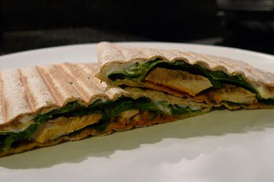 Panini with chicken and spinach