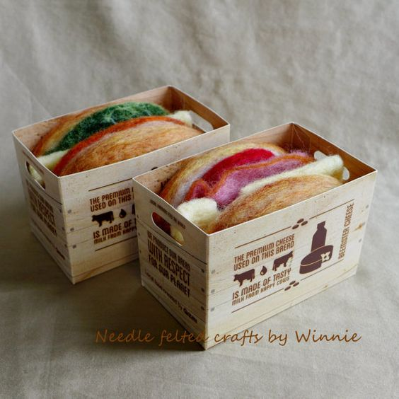 Needle felted cheese sandwiches in a paper by FunFeltByWinnie