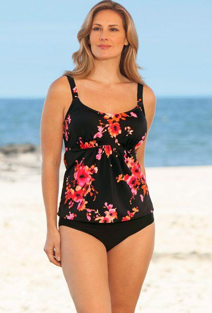 Beach Belle Orange Poppies Plus Size Flared Tankini