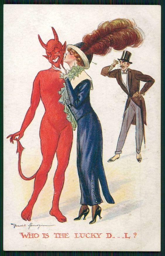 art Fred Spurgin Erotic Lucky Devil original old 1910s postcard: