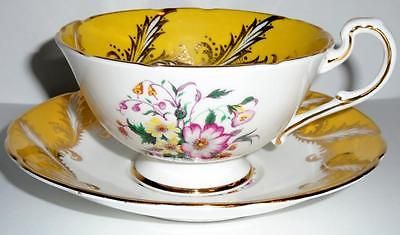 Paragon-Bone-China-Tea-Cup-and-Saucer-Set-Yellow-amp-Gold-with-Floral-Bouquet