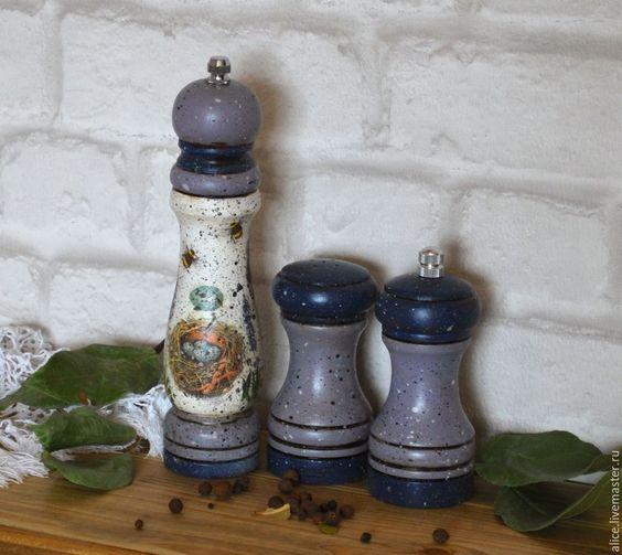 Купить набор для специй ЛАВАНДОВЫЙ - голубой, лавандовый цвет, лаванда, специи, для специй, перец, соль