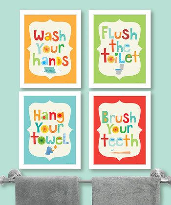 Ellen crimi trent bathroom rules print set of four for for Bathroom decor rules