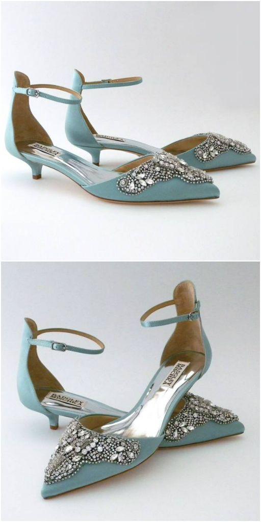Kittens Heels That Aren T Frumpy Yes Badgley Mischka Fiana In A Fabulous Blue Radiance Colo Bridal Shoes Flats Kitten Heel Wedding Shoes Bride Shoes Low Heel
