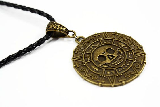 Pirates Coin Necklace   Aztec Gold Coin Pendant  Pirates by Taypop