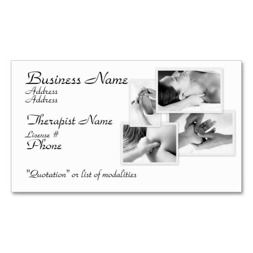 Massage therapist black white on white business card for Massage therapy business card templates free