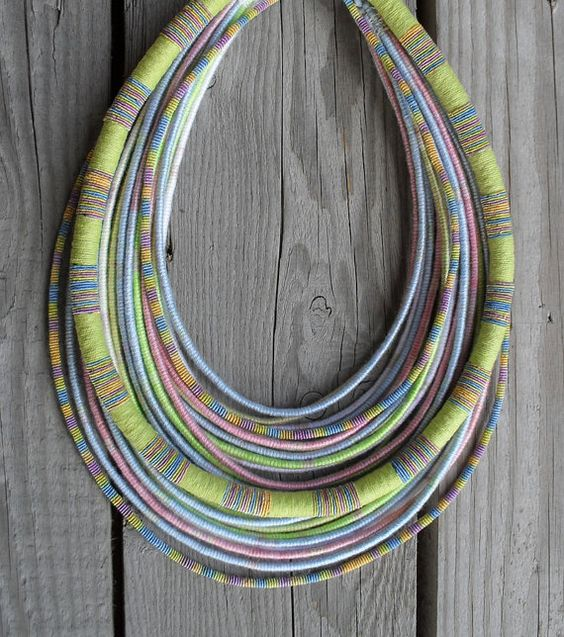 OOAK Pastel Spring yarn-wrapped rope necklace / tribal / hippie / bohemian / thread-wrapped / pastel / rope