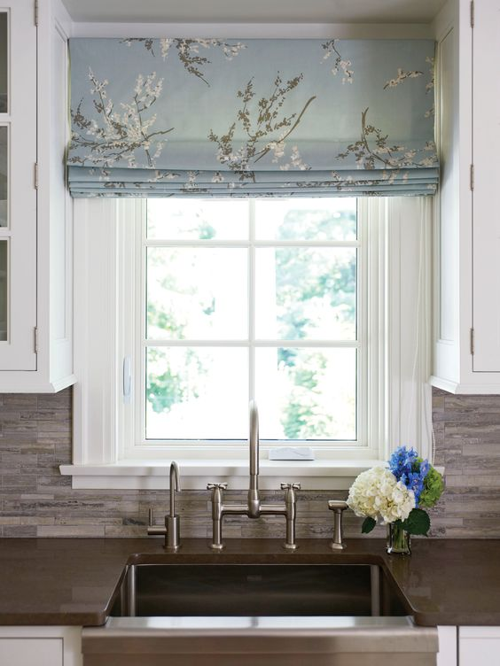 Like the idea of using a printed fabric for the blinds to add something different to the kitchen