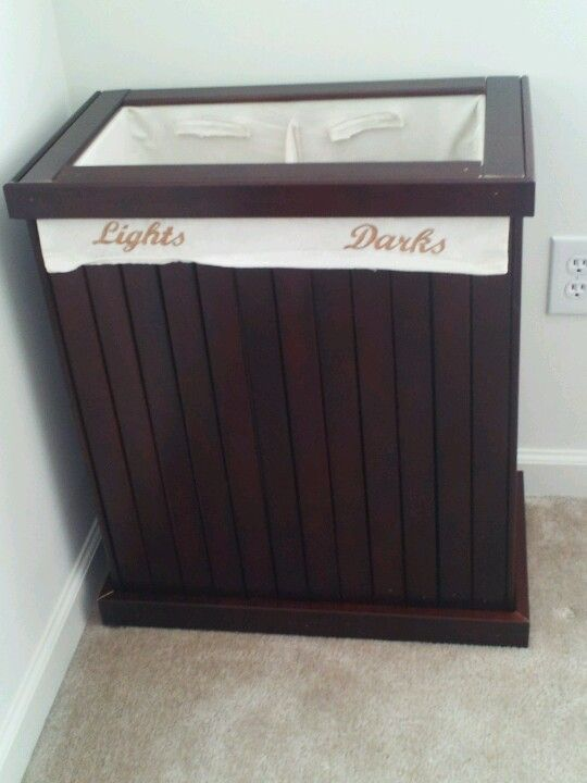 Repurposed crib turned laundry hamper use the wood slats from crib rails and old laundry bag - Wooden hampers for laundry ...