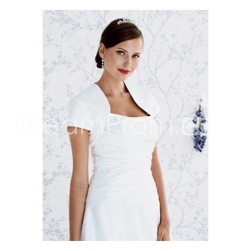Simple Short Sleeve White Satin Wedding  Bolero Jacket