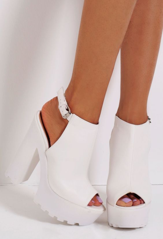 Chalk White Patent Slingback Tractor Sole Platform Shoes | Pink ...