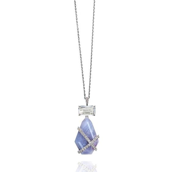 GABRIELLE'S AMAZING FANTASY CLOSET | Rachael SARC White Gold and Blue Chalcedony & Diamond Pendant in White Gold |