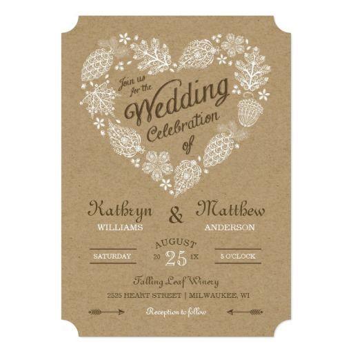 Unique Elegant Wedding Invitations: Woodland Heart Wedding Invitation