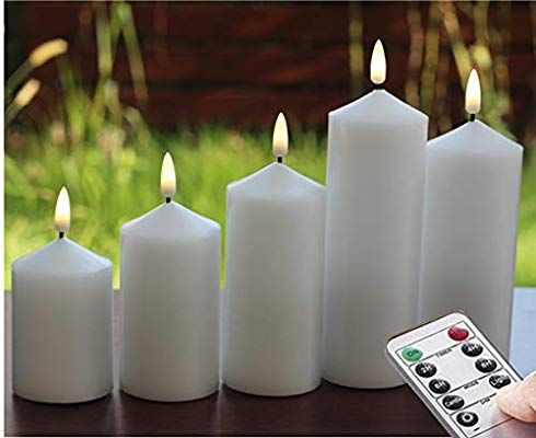 3 Pcs Flickering Flameless Led Candles With Timer 10 Key Remote Control Feature Ivory Color And Antique B Bronze Candlesticks Led Candles Flameless Led Candles