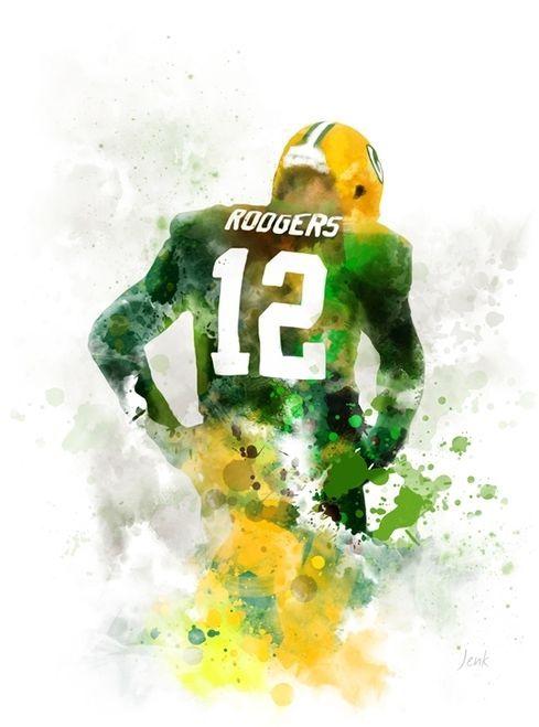 Aaron Rodgers Art Print Green Bay Packers American Football Sport Quarterb Green Bay Packers Art Green Bay Packers Aaron Rodgers Green Bay Packers Wallpaper