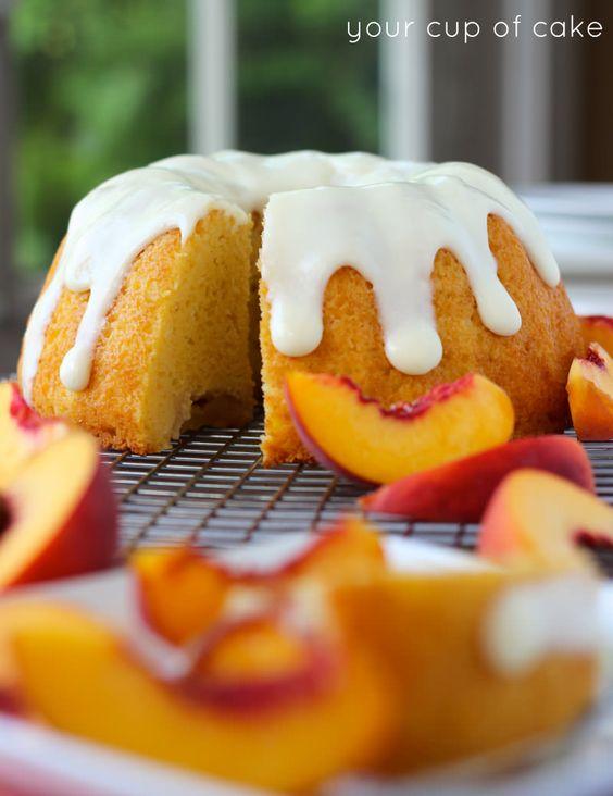 Peaches and Cream Bundt Cake with cream cheese glaze