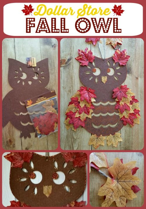 Dollar Store Fall Owl - Make this funky fall owl from a plain dollar store felt owl. Great project for the kids too.