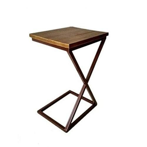 Xiaoyan Wooden Top Sofa Side End Table With Modern C Shape Bronze